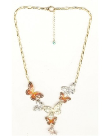 COLLIER PAPILLONS TRICOLORE ELECTROFORMEE 750 MILLIEMES