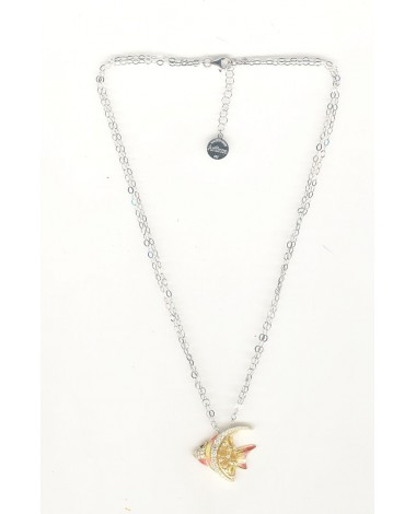 Collier poisson jaune/orange avec pierres - 44 cm
